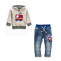 Wholesale Baby Jeans Set - 2016 baby girls boys cute 2pcs set Kids denim suit cotton Children's tracksuit sport set long sleeve sweatshirts hoody+jeans 2-7years retail