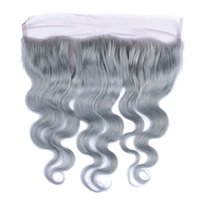 Cheap Brazilian Silver Grey Lace Frontal Closure Bleached Knots Body Wave Virgin Cheveux humains 13x4 Full Pied de dentelle Frontal Pure Grey Couleur