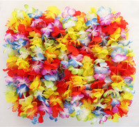 Wholesale Wholesale Cheerleading Products - Party Supplies Silk Hawaiian Flower Lei Garland Hawaii Wreath Cheerleading Products Hawaii Necklace HH0039