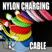 Wholesale iphone orange charger - Nylon Charger Cable For Iphone 6 Micro USB 3FT 6FT 10FT Fabric Braided USB Data Sync Charging Cables For Samsung