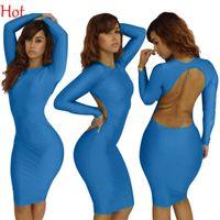 Wholesale Long Sleeve Bandage Dress Backless - New Hot Sexy Women Dress Backless Bandage Dress Hot Bodycon Dress Long Sleeve Blue Elegant Party Club Dress Knee Length Wholesale SV001473
