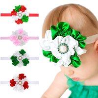 Wholesale Big Satin Flower Hair - New Baby Girls Headbands Big Flower Kids Rhinestone Pearl Satin Headband Children Hair Accessories Kids Elastic Hairbands Headwear KHA324