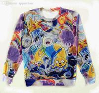 Wholesale Adventures Time - Wholesale-2015 New fashion Pullover Women men Cute adventure time Cartoon gallery Print 3d sweatshirts Cartoon hoodies Tops Free shipping