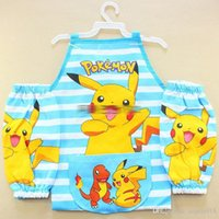Wholesale Childrens Apron Sets - New Poke Mon Printe Childrens Cartoon Cooking Art Painting Smock picacho Apron 3Pcs  et Sleeveless Aprons +Oversleeves 3pcs sets E1178