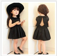 Wholesale Kid Elegant Clothing - Hot Babies Princess Cotton Dresses Kids Girls Elegant Sleeveless Dress 2016 Baby Girls Summer Backless Dress Children's Clothing