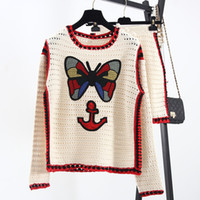 Wholesale Piece Free Computer - 2016 Ivory Long Sleeves Two Pieces Sets Hollow Out Butterfly Embroidery Autumn Women's Sweater Dress Sets Celebrity Pullovers 100701