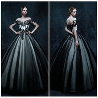 Wholesale White Gothic Formal Dress - 2017 Off Shoulder Short Sleeves Black Lace Appliques Ball Gown Wedding Dresses Floor Length Lace Up Back Gothic Formal Wear