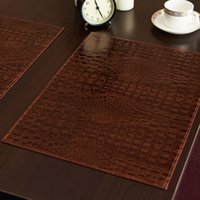 Wholesale Coffee Tables European Style - Wholesale- Leather Placemat European Style Crocodile Pattern Table Mat Insulation Pad Mat Decorative Coffee Coasters