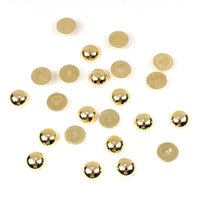 200 PC / Los Nagel Dekoration Perlen Perlen 6mm Goldkunst halbe Perlen runde Form Acrylfarbe Spacer Kugel DIY Imitation Dekoration