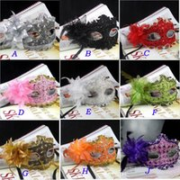 Wholesale lace leather mask resale online - New Exquisite Lace Rhinestone Leather Mask Masquerade Halloween Party Flower Princess Mask For Lady Purple Red Black Gold Pink Silver White