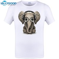 Wholesale Cute Baby Shirt Designs - Cute Baby Elephant Dj Wearing Headphones and Glasses New Design Mens T-shirt Novelty Men Tops Cool Tee Plus Size S-6XL