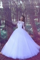 Wholesale China Beach Balls - 2017 Ball Gown Modest Beach Wedding Dresses Sleeves From China Sheer Long Sleeve Lace Applique White Tulle Bridal Gowns