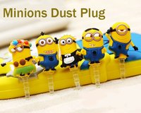 Wholesale Despicable Iphone Gel - Wholesale-5pc set 3.5mm Dust Plug Despicable Me Cute silica gel Minions Dust Plug for iphone for Samsung  iPad Mobile Phone Accessories