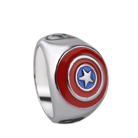 Wholesale nail shields wholesale - Avenger Superhero Captain America shield finger rings band nail rings couple rings for men women Christmas gift fashion punk jewelry