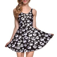 Wholesale Size Skull Dress - NEW 1087 Plus Size Sexy Girl Women Summer The Nightmare Before Christma Skull Jake 3D Prints Reversible Sleeveless Skater Pleated Dress