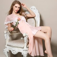Wholesale Women S Sexy Sleep Dress - Wholesale- bridesmaid robes long satin nightgowns women Sexy V-Neck lace nightgowns silk nightgowns xl women sleeping dress Ladies nightie