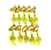 spoons fishing lures 2018 - 10Pcs New Metal Spoon Spinnerbait Fishing Lures With Yellow Feather Hooks Wobbler Sequins Baits 5.5CM-3.7G