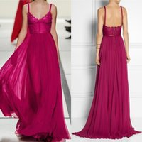 Wholesale Elie Saab Spaghetti V Neck - Custom Elie Saab Evening Dresses Spaghetti Straps V Neck A Line Sweep Train Hot Pink Lace and Chiffon Prom Dresses Party Formal Gowns
