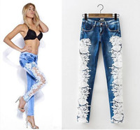 Wholesale European Trouser Women - 2016 Ripped Hole Pencil Pants fancyland lace Lady's Jeans Top Fashion Patchwork Lace Floral Hollow out women jeans Casual Denim Trousers