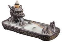 ingrosso bruciatore drago-Ceramica Dragon Censer Home Decor Creativo Fumo Riflusso Brucia Incenso Brucia Incenso Stick Holder + 30 Pz Coni di incenso come regalo