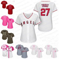 Wholesale Grey Shirt Cool - Womens Los Angeles Angels of Anaheim #27 Mike Trout Baseball Jerseys Ladies Shirt Cool Base White Red Grey Pink Fashio Green Stitched