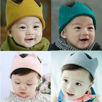 Wholesale Korean Tops For Girls - Korean children crown baby knitting wool hats for gril boy and empty top hat and quick fashion personality along without cap