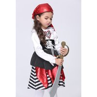 Wholesale Teenage Pirate Costume - 2016 Pretty Little Princess Halloween Corsair Costume Girl's Fairy bling Silk Cosplay kids pirate Theme Costume Party Dress Festival Dress