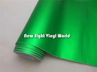 envoltório metálico de vinil cromado venda por atacado-Top Quality Verde Fosco Metálico Filme de Vinil Fosco Cromado Verde Vinyl Air Free Bubble Para Carro Wraps