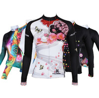 Wholesale Cycling Jersey Long Sleeve Summer - 2016 Women Long Sleeve Cycling jerseys colorful summer breathable quick dry Bicycle Jersey free shipping