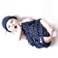Wholesale Button Blanket - Crochet Newborn Baby Costume Photography Props Button Beanies Blanket Handmade