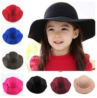 Wholesale Black Felt Cloche - Warm Children Kids Boys Girls Wide Brim Soft Wool Felt Bowknot Bowler Floppy Cloche Hat Sun Cap