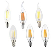 Wholesale 6w E27 Cob - Filament Candle LED Bulbs,Chandelier, E12 E14 E27 Base Lamp, C35 Torpedo Shape Bullet Top Candelabra Light Bulb,COB LED Filament Flame Tip