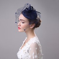 Wholesale Fascinator Birdcage Black Veil - Hot Sale Navy Blue Black Beige Birdcage Net Wedding Bridal Fascinator Face Veils Feather Flower with Hairpins 4 Colors