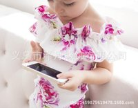 Wholesale Pink Lotus Clothing - 2017 INS hot Baby girl Kids Toddler Summer clothes clothing Pink Blue Rose Floal Print off-shoulder Romper Onesies Jumpsuits Lotus Ruffles