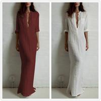 Wholesale Sexy Plus Size Pencil Dresses - Fashion Vestidos 2016 Summer Women Sexy Casual Dress Long Sleeve Deep V Neck Linen Split Solid Long Maxi Dress Plus Size