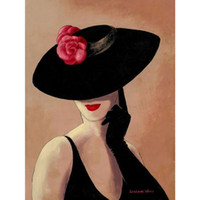 abstrakte dame gemälde großhandel-Abstrakte Kunst Lady in Rose Handgemalte Frau Ölgemälde Leinwand für Wanddekoration