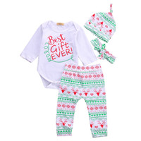 Wholesale Romper White Baby Cotton Unisex - Baby Clothing Christmas Boy Girl Clothing Sets 4pcs Romper Pants Hat and Headwear Cotton Long Sleeve Infant Clothes