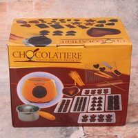 Wholesale Chocolate Fountains Wholesale - New Arrvial Electric Chocolatiere Boutique Chocolate Melting Pot Candy Cheese Boiler Household DIY Kitchenware Chocolate Fountains