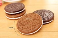 Wholesale Chocolate Comb - Fashion Cocoa Cookies Mirror Makeup Mirrors with Comb,Unique Cheap Sandwich Cooke Compact Mirrors Women Makeup Accessories Tools