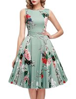 Wholesale Retro Floral - Sleeveless Vintage Autumn Tunic Dress Women 8 Colors Print Floral Retro Hepburn Style 2017 Plus Size Winter Swing Dresses