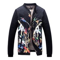 Wholesale Large Collar Jacket Mens - 2017 New Men's Floral Print Jacket Stand Collar Flower Jacket Men Outdoor Mens Jacket Long Sleeve Large Size 5XL,PA502