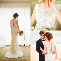 Wholesale Bead Crepe Wedding Dress - 2016 Jenny Packham Ivory Wedding Dresses Modest Crepe Jewel Keyhole Back Sheath Beaded Sweep Train Bridal Gowns Custom Made China EN5042