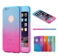 Wholesale Iphone Screens Colors - 360 degree Complete coverage back cover Case with Gradient Colors + free screen glass for iPhone 5s 6 6s plus 7 7 plus with Retail Package
