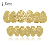 Wholesale Copper Sections - Lureen 4 Color Twill Hip Hop Grills Teeth Top and Bottom Grills Set Halloween Gift Section Masquerade Party Jewelry