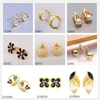 Wholesale Cheap Yellow Diamond Earrings - Best gift 10 pairs mixed style women's note plant flower crystal gemstone 18k yellow gold earring GTG59,cheap yellow gold stud earrings