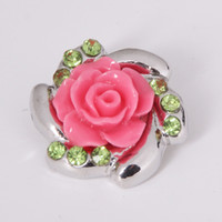 Wholesale African Jewelry Making - Mix color 18mm Rose flower Metal Snap Chunk Button High quality Charm Rhinestone Styles Button Ginger Snaps Jewelry diy making