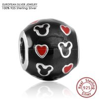 Fit Brand Bracelets Emaille Mickey Hearts Charms Authentique 925 Sterling Silver Diy Noir Rouge Micky Charm Bijoux 2015 Er455