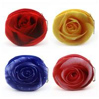 Wholesale 3d rose wall - Zipper Wallet Multi Function 3D Rose Shape Card Storage Purse Creative Kids Printing Handbag For Children Gift Colorful 215hmC R