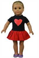 Wholesale Wool Western Skirt - Red Heart Pattern Black Shirt and Red Skirt American Doll Clothes for American Girl Dolls and Alike Dolls