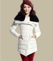 Wholesale Clearance Long Down Coat - Clearance 2015 new fashion winter slim rabbit fur collar white down coat Jacket medium-long dropship